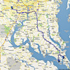 27 March 2010<br /> Our route to St Mary's City, with a detour to Piney Point.