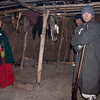 27 March 2010<br /> Historic St Mary's City Living Exhibit - Woodland Indian Hamlet<br /> Inside a smoke-filled hut, Mistress Green and Captain Fleet discuss  the interaction of the colonists with the Yaocomaco Indians.