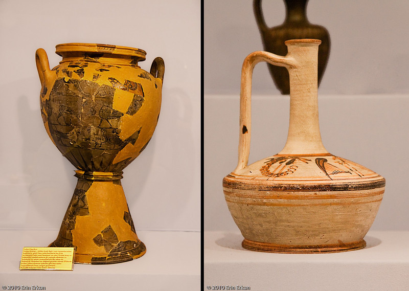 20 April 2010<br /> İzmir Museum of Archaeology<br /> Left: Lebes Gamikos (wedding cup) - 580 BC (Bayrakli, Smyrna) - believed to be the work of Sophilos, the first Attican black pottery artist.<br /> Right: Lagynos (vase) from the Hellenistic Period.