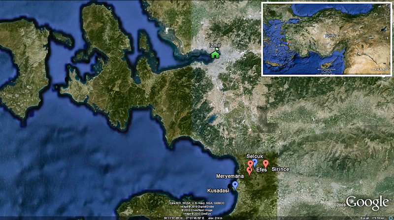 18 April 2010<br /> Google Earth image showing the location of today's sites in relation to Izmir.