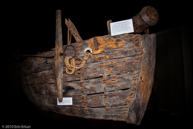 "28 February 2010<br /> Smithsonian National Museum of American History - Washington DC<br /> Continental Gunboat ""Philadelphia.""<br /> <br /> The gunboat was built in 1776.  It was sunk the same year when a 24-pound (~ 11 kg) shot from British forces found its target.  The boat, which is the oldest surviving — albeit far from sea-worthy — American fighting vessel, was raised from the bottom of Lake Champlain (New York) in 1935."