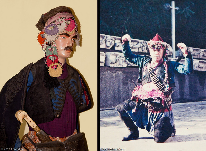 "20 April 2010<br /> İzmir Ethnography Museum<br /> Mannequin dressed in clothing typical of a ""Zeybek.""  The word refers to an armed individual and comes from the Uzbek language.  On the right is a photograph of an ""Efe,"" the head of the Zeybek society."