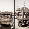 22 April 2010<br /> İstanbul - Floating fish restaurants and roaming pickle vendor at Galata Bridge.