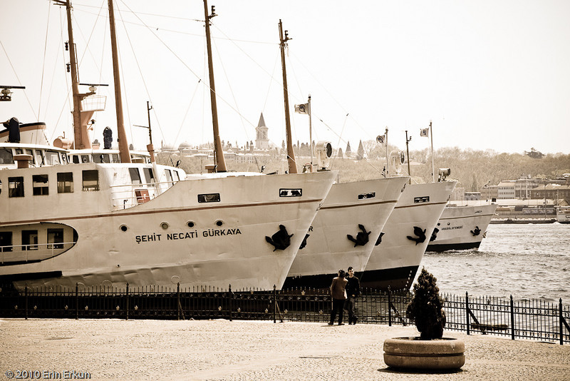 22 April 2010<br /> İstanbul - Ferry Boats docked in Galata.