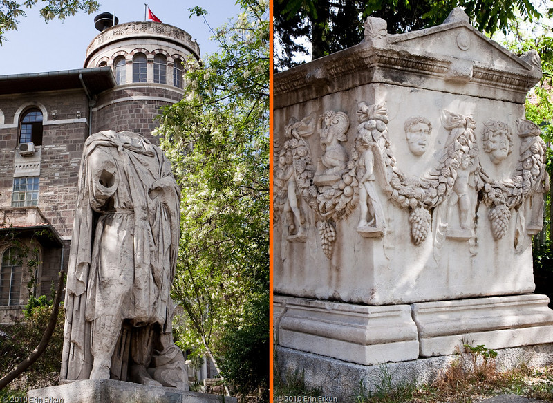 20 April 2010<br /> İzmir Museum of Archaeology<br /> Left: Statue of a Barbarian (Roman Period - 2nd Century AD) on the grounds of the two museums.<br /> Right: Sarcophagus (Roman Period - 2nd Century AD).