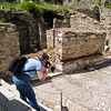 18 April 2010<br /> Ephesus - Photographing the detail of the mosaic sidewalk.