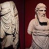 20 April 2010<br /> İzmir Museum of Archaeology<br /> Left: Statue of Asklepios (god of medicine and healing in ancient Greece) - 2nd Century AD - Miletos<br /> <br /> Right: Statue of a Priest - between 30 BC and 395 AD - Bodrum