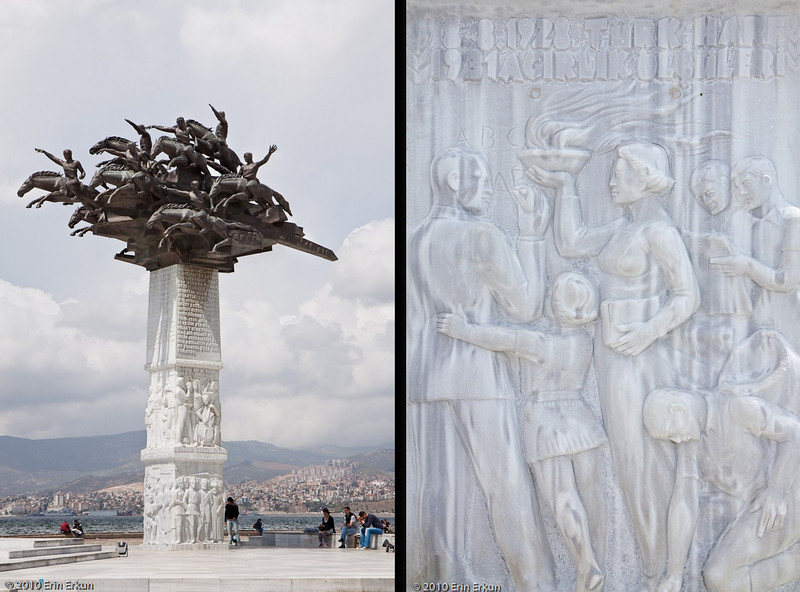 "20 April 2010<br /> This monument in Gündoğdu Square is known as ""Cumhuriyet Ağacı Anıtı"" (Republic Tree Monument). It was erected to commemorate the 80th anniversary of Turkey becoming a republic. The top portion represents Atatürk and the Turkish cavalry fighting the War of Independence. The reliefs carved on the marble base depict scenes associated with Turkey becoming a republic.<br /> <br /> Right: Detail from the marble pedestal of the monument. The scene depicted shows Atatürk introducing the Latin alphabet as part of the Language Reform he instituted after Turkey became a republic."