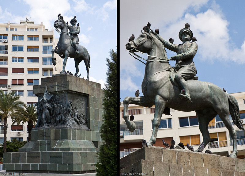20 April 2010<br /> Alsancak - The centerpiece of Cumhuriyet Meydanı (Republic Square) is this statue honoring Atatürk and the liberation of İzmir on 9 September 1922.