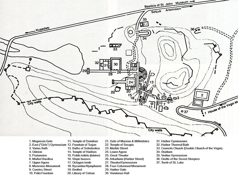 18 April 2010<br /> Map of the Ruins of Ephesus.