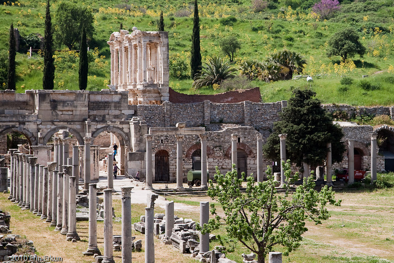 18 April 2010<br /> Ephesus - Lower Agora with the Gate of  Mazaeus & Mithridates and the Celsus Library in the background.