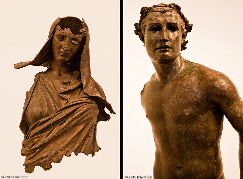 20 April 2010<br /> İzmir Museum of Archaeology<br /> Left: Fragment of a bronze statue of Demeter (goddess of the harvest, who presided over grains, the fertility of the earth, the seasons, and the harvest; she also presided over the sanctity of marriage, and the cycle of life and death) - Hellenistic Period, 4th Century BC - Bodrum.<br /> Right: Bronze statue of a runner (possibly of an Olympian) - Late Hellenistic Period, 50-30 BC - Kyme.