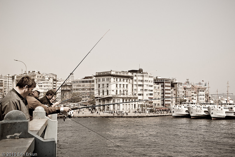 22 April 2010<br /> İstanbul - Fishing off the Galata Bridge is a popular pastime.