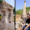 18 April 2010<br /> Ephesus<br /> Left: Detail from the Gate of Hercules.<br /> Right: Murat takes a load off at the Monument of Memmius.