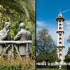 21 April 2010<br /> Kultur Park<br /> Left: Statue of Atatürkand İsmet İnönü.<br /> Right: You might say that the Paraşüt Kulesi (Parachute Tower - dating back to 1939) is the precursor of modern-day thrill rides.