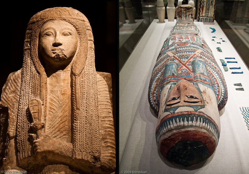 "Mercury Cruise - R/T from Baltimore - November 30-December 12, 2009<br /> Left: Statue of Nehy, Egyptian, New Kingdom, 19th Dynasty - ca. 1250-1200 BC.<br /> Right: ""Mery"" the Walters Mummy."
