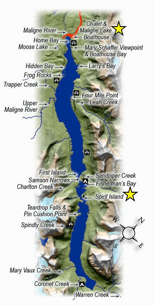 Map of Maligne Lake