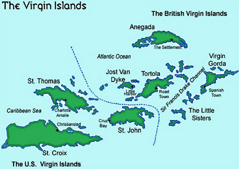 Mercury Cruise - R/T from Baltimore - November 30-December 12<br /> Virgin Islands Map (courtesy of Here.VI.com)
