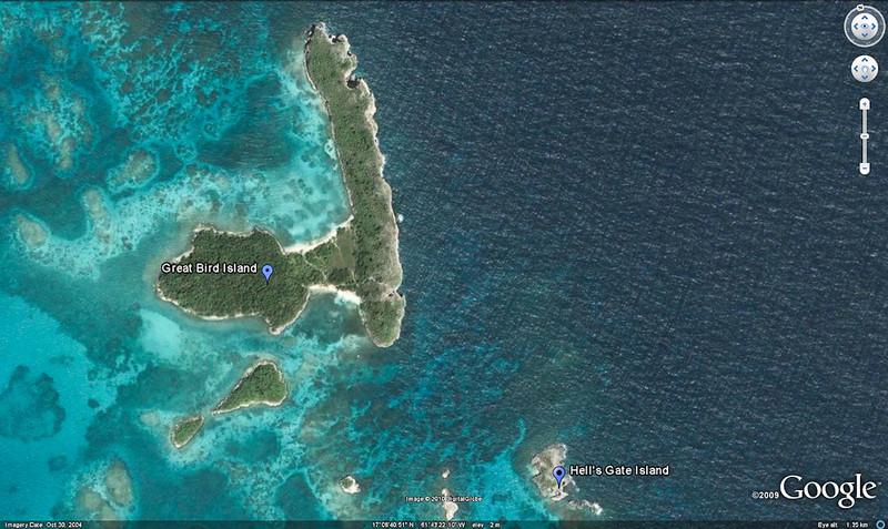 Mercury Cruise - R/T from Baltimore - November 30-December 12<br /> Google Earth Image showing Great Bird Island and Hell's Gate Island.