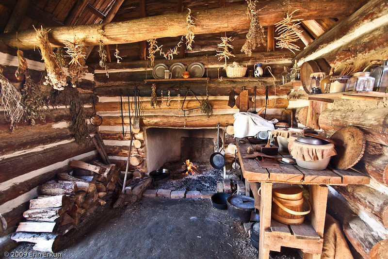 None of the modern conveniences, yet colonial women managed to turn out  filling meals in this kitchen.