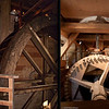 The water wheel powers the gear mechanism that turns the runner stone to grind the grain.