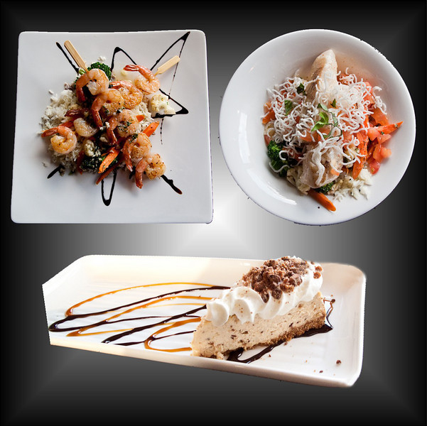Top Left: Wrathful Shrimp<br /> Top Right: Heinous Halibut<br /> Bottom: Wicked Cheesecake