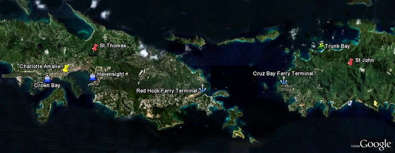 Mercury Cruise - R/T from Baltimore - November 30-December 12<br /> Google Earth Image of St Thomas and St John.