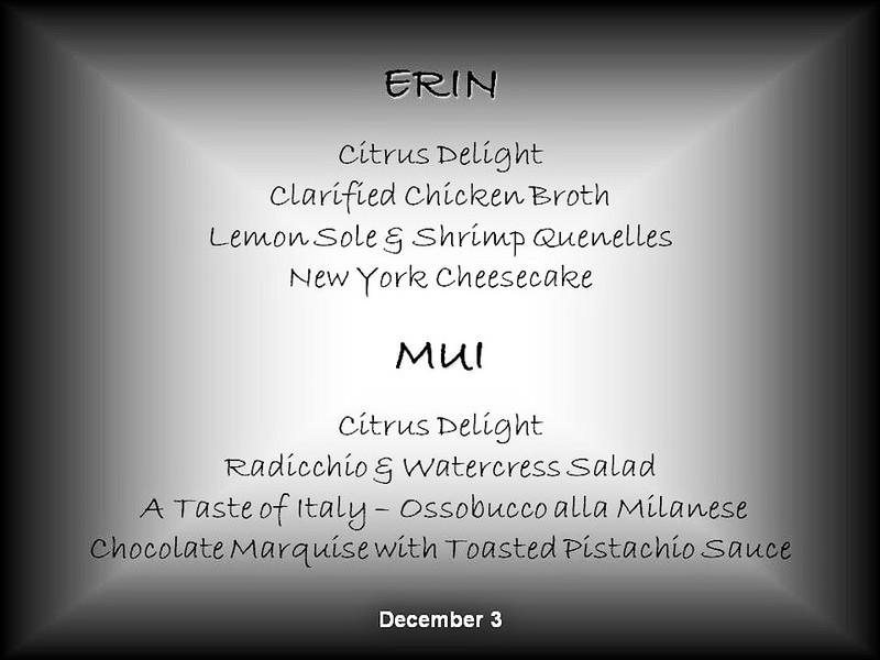 Mercury Cruise - R/T from Baltimore - November 30-December 12<br /> December 3 Menu