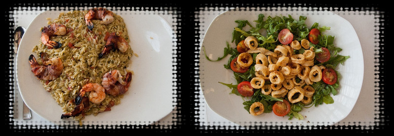Left: Pancetta wrapped shrimp on a bed of Caribbean rice.<br /> Right: Calamari salad