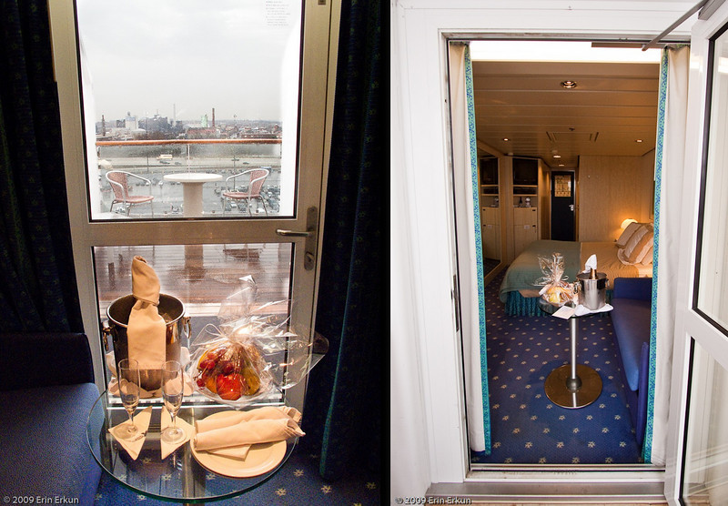 Mercury Cruise - R/T from Baltimore - November 30-December 12<br /> Left: Welcome Aboard CC perks from Celebrity and a glimpse of the oversized veranda.<br /> Right: Looking into the cabin from the veranda.
