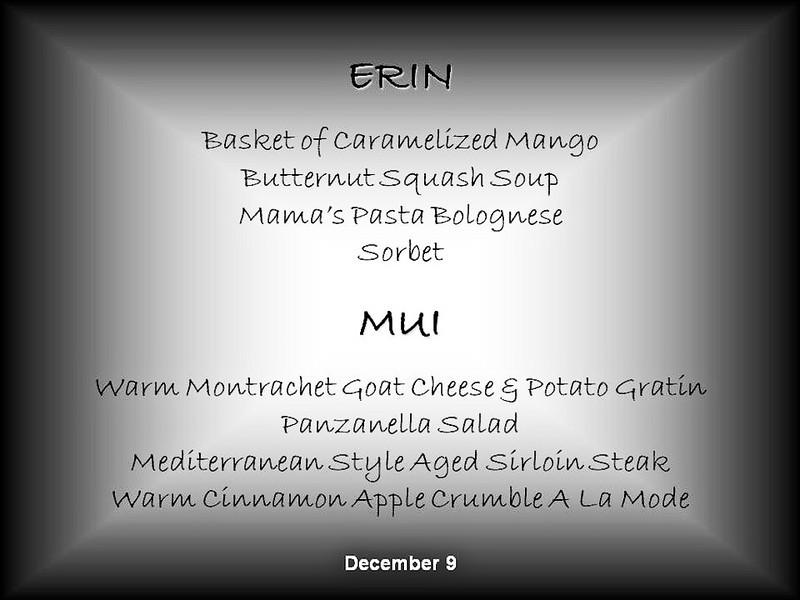 Mercury Cruise - R/T from Baltimore - November 30-December 12<br /> December 9 Menu