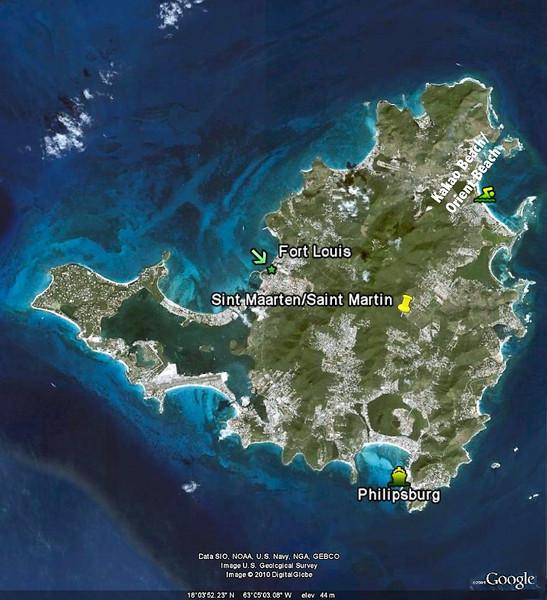 Mercury Cruise - R/T from Baltimore - November 30-December 12<br /> Map of Sint Maarten/Saint Martin
