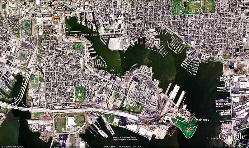 Mercury Cruise - R/T from Baltimore - November 30-December 12<br /> This Google Earth image shows some of the areas we explored in Baltimore, including  the Inner Harbor and Ft McHenry.