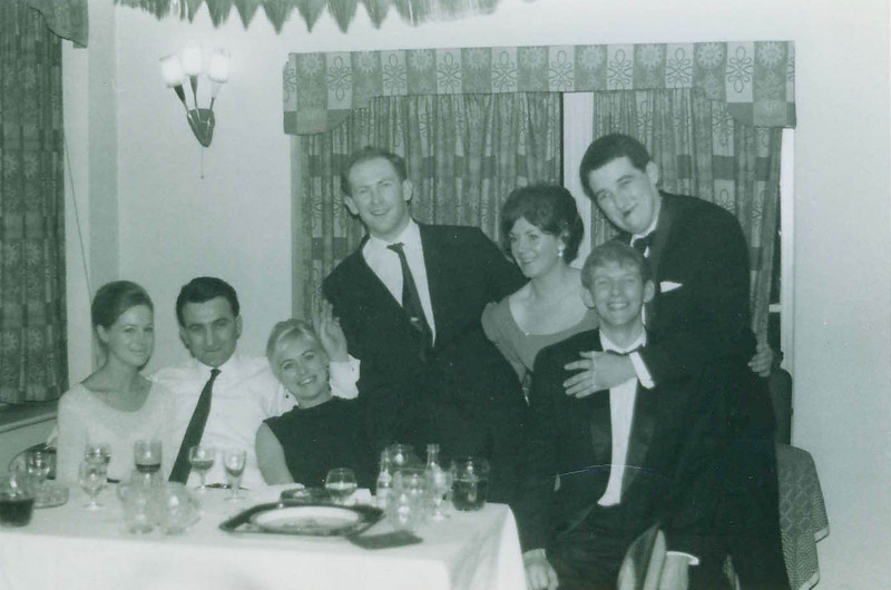 Calcot Hotel, Ladies Night, March 1967. The blokes were (left to right): Fred Evans (not a rugger player); Clive Williams; Julian Bell and Tim Blandford.