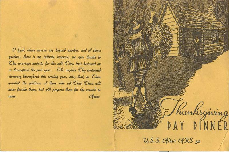 Thanksgiving day dinner menu 1962