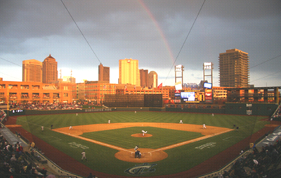 Columbus Clippers new ballpark.  Beautiful rainbow that came out while Jim was watching a game there.