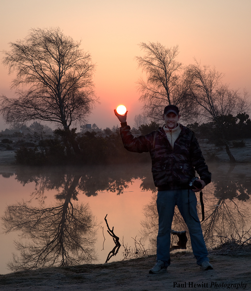 Neil holding the Sun. New Forest, Hampshire