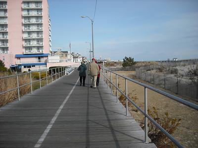 Phyllis, J.R., and Janet walking on the Ocean City Boardwalk--November 25, 2012
