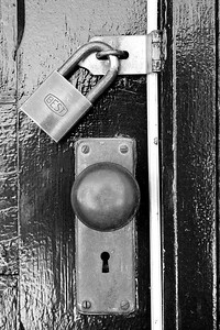 Locked door at Heritage Park.