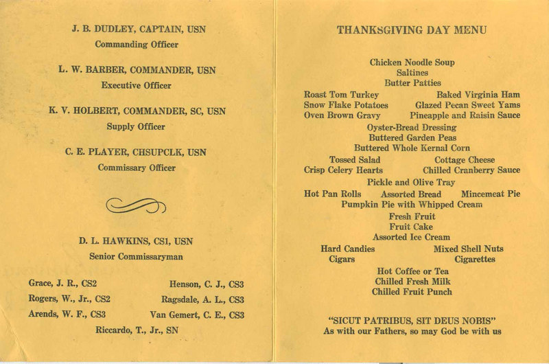 Thanksgiving day dinner menu 1962