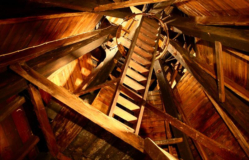 Looking up inside Wimbledon Windmill