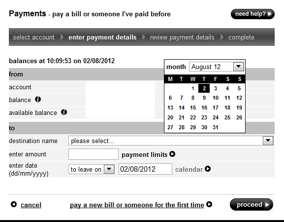 This is First Direct's date input user interface as at 2 Aug 2012.  It is better than HSBC's because it does allow the user to choose a date from a Calendar control