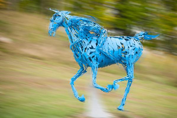 Haliburtun Sculpture Forest. Horse galloping