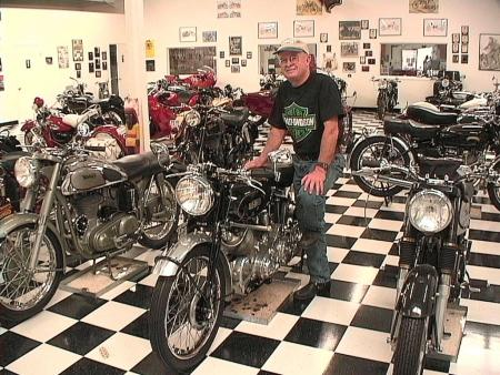 """Alan Johncock, owner of the <a href=""""http://www.lonestarmotorcyclemuseum.com"""">Lone Star Motorcycle Museum</a>, on his favorite specimen, a '48 Vincent Rapide Series B, iirc."""
