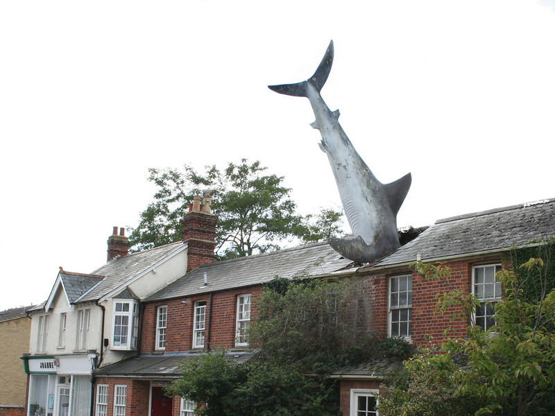 """""""Shark house"""", Oxford.  The owners battle with the local council who wanted the structure removed escalated all the way to the then Secretary of State for the Environment Michael Heseltine, whose inspector ruled in favour of the 25 foot fibreglass fish and so it remains."""