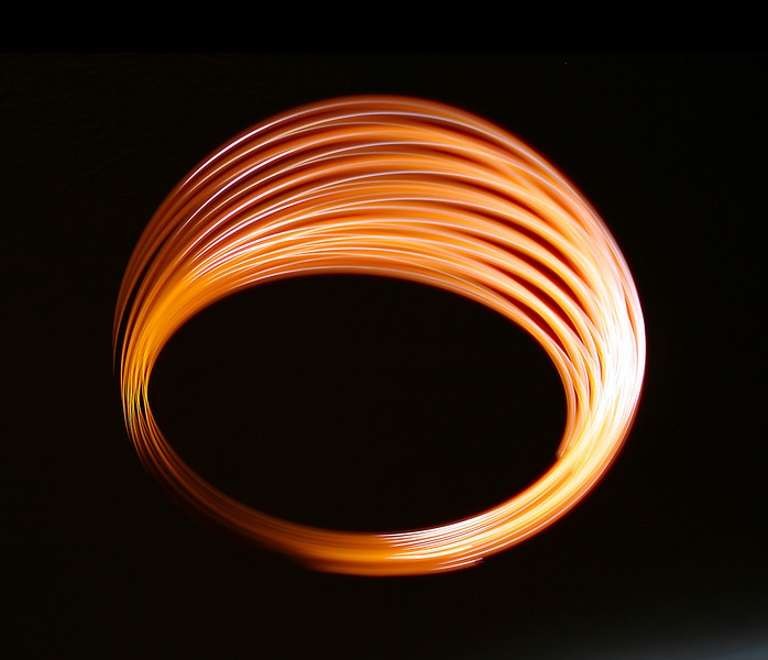 This effect was achieved by hanging a torch from the end of a piece of string in a dark room, and setting it swinging. Exposure time was 10 seconds.