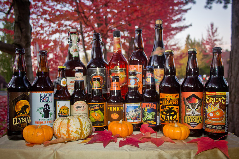 Over autumn 2011 I managed to collect the following:<br /> Sparkling Pumpkin Spice apple juice, Pumpkineater Imperial Pumpkin Ale, Pumpkin Spice Liquor, Pumpking Imperial Pumpkin Ale, Jacked Oaked Pumpkin Ale, Dark 'O The Moon Pumpkin Stout, First Growth Pumpkin Patch Ale,  Ace Hard Pumpkin Cider, Punkin Ale, America's Original Pumpkin Ale, Punk'n Harvest Pumpkin Ale, Blue Moon Harvest Pumpkin Ale, Pumpkinhead Pumpkin Ale, Stingy Pumpkin Ale, Night Owl Pumpkin Ale, Treat Imperial Chocolate Pumpkin Porter