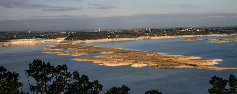 Lake Travis on April 21, 2013.  Water levels are still very low.