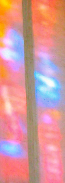 Guildford Cathedral - stained glass reflection on wall (colours enhanced).