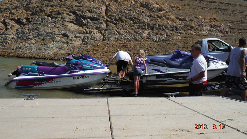 Jet skiiers with a 4 ski trailer. They took almost 20 minutes to put their skis back on the trailer.